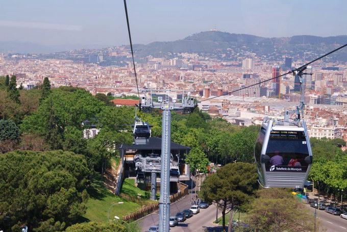 Linbana upp till Montjuïc.